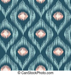 Retro ikat blue with pink pattern