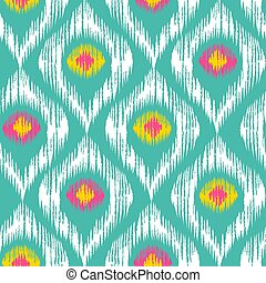 Retro ikat colorful pattern.