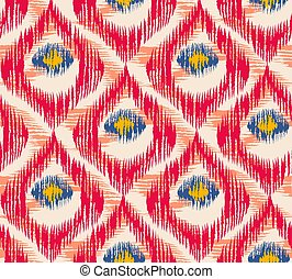 Retro ikat colorful pattern with peacock feathers