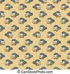 Vintage vector seamless pattern with cartoon birds