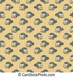 Vintage vector seamless pattern with cartoon birds