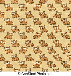 Vintage vector seamless pattern with cartoon cats