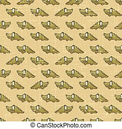Vintage vector seamless pattern with cartoon crocodiles