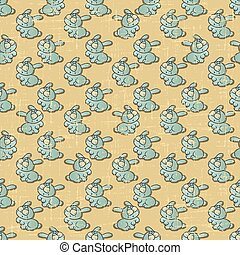 Vintage vector seamless pattern with cartoon rabbits