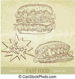 vintage vector set of fast food