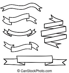 Vintage Vector Set of Hand Drawn Doodle Banners and Ribbons