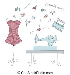 Vintage vector sewing elements.