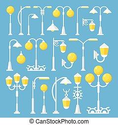 Vintage vector street lanterns set