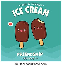 Vintage vegetable poster design with vector ice cream characters.