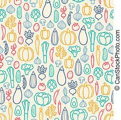 Vintage vegetables seamless pattern