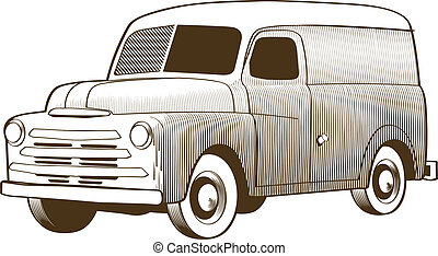 Woodcut style illustration of an old vehicle.