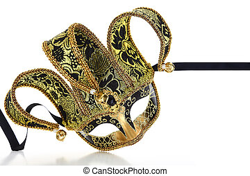 Vintage venetian carnival mask isolated on white background