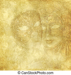 Vintage Venetian Masks on golden floral background - Antique...