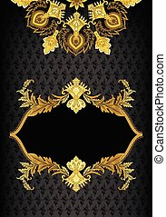 vintage vertical frame with golden ornate leafy decor and the mandala