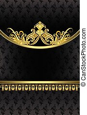 vintage vertical frame with golden ornate decor on the oval rim and a narrow decorative border