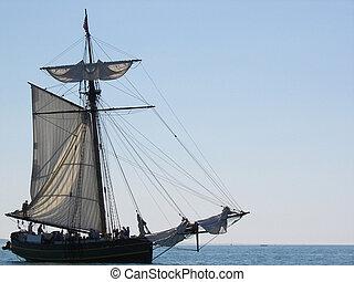 Vintage Vessel - Old sailing vessel on Lake Michigan.