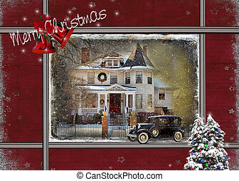 Vintage Victorian Christmas - Christmas Victorian house with...