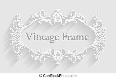 Vintage Victorian Frame Background - A vintage white...