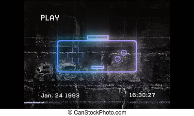 Animation of a vintage video recording of a neon game controller sign on brick wall in the background