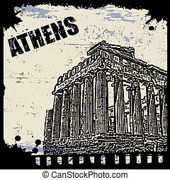 Vintage view of Athens