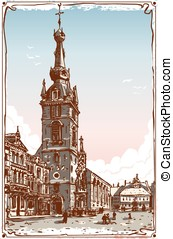 Vintage View of Chimay Church Place in Belgium