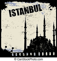 Vintage view of Istanbul on the grunge poster, vector...