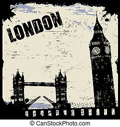 Vintage view of London on the grunge poster, vector...
