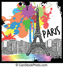Vintage view of Paris on the grunge poster with colored...