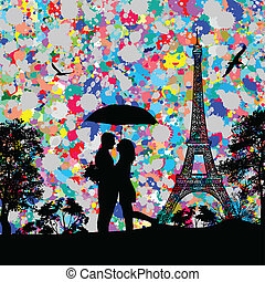 Vintage view of Paris with colored splash