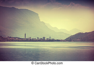Vintage view of the city Lecco. Italy, Europe.