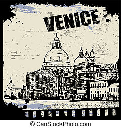 Vintage view of Venice on the grunge poster, vector...