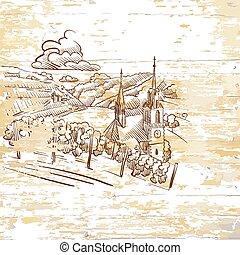 vintage vineyard drawing on wooden background