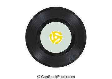 Vintage Vinyl Disk with Yellow Adapter - Vintage 45 rpm...