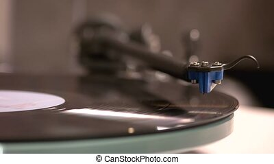 Vintage vinyl LP record player close up. Turntable record ...