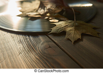 Vintage vinyl record and autumn leaves