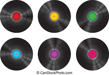 Vintage Vinyl Records Set Isolated On White Vector...