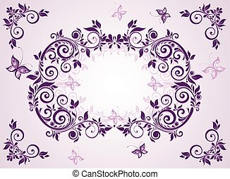 Vintage violet floral frame