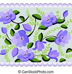 Vintage Violet flowers handmade pattern Vector illustration