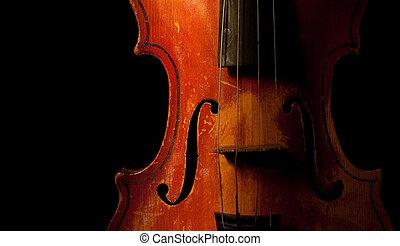 vintage violin detail isolated on black