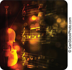 vintage violin silhouette with note on black
