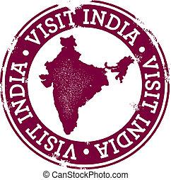 Vintage Visit India Stamp