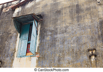 vintage wall background with old window