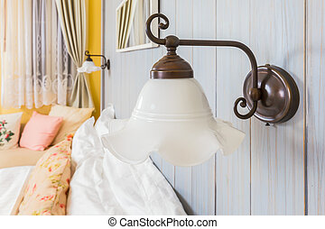 vintage wall lamp in the bed room