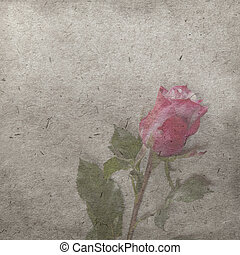 Old Books Violin Scroll And Red Rose On Wooden Background