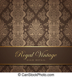 Vintage wallpaper design. Flourish background. Floral pattern. Wedding card classic vector design template. Editable.