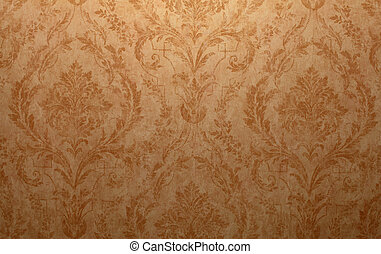 Vintage wallpaper - Vintage golden run-down victorian...