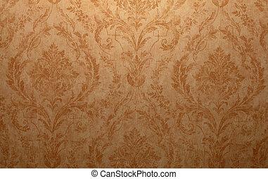 Vintage wallpaper - Vintage golden run-down victorian...