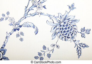 Vintage wallpaper with blue vignette victorian pattern