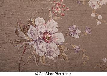 Vintage wallpaper with floral pattern - Vintage brown...