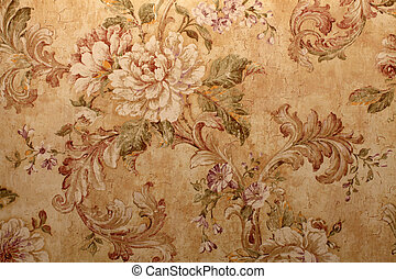 Vintage wallpaper with floral pattern - Vintage golden...